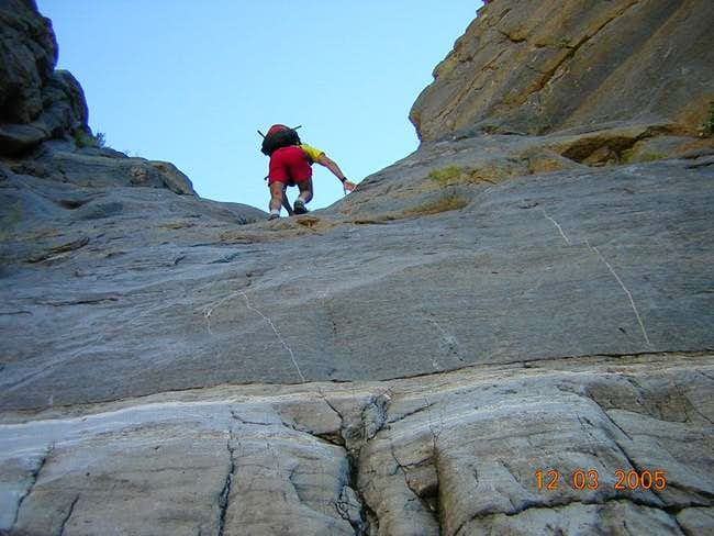 Climbing up the 30' dryfall...