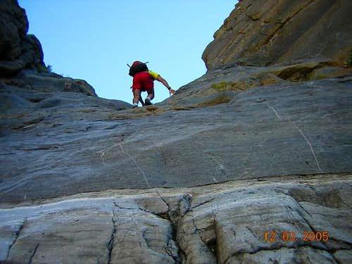 Climbing up the 30' dryfall...