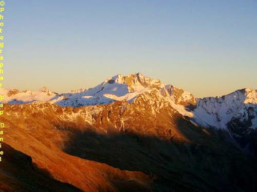 hochalmspitze in sunset from...