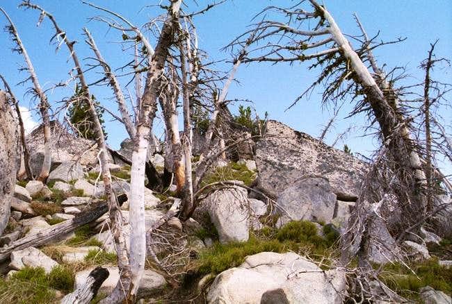 The terrain on the west ridge...