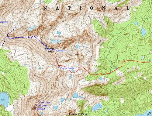 Decker Peak Topo with Routes...