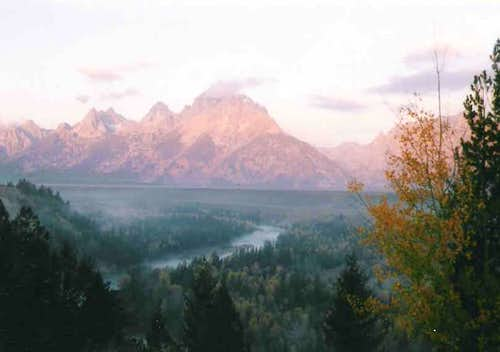 Grand Teton in the early morning mist