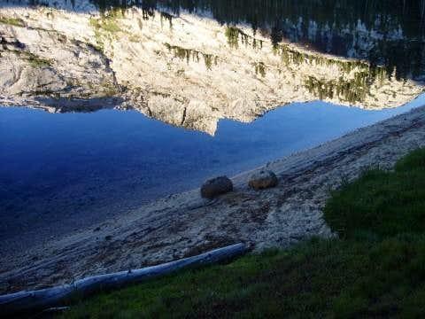 Tresidder Peak reflected in Cathedral Lake