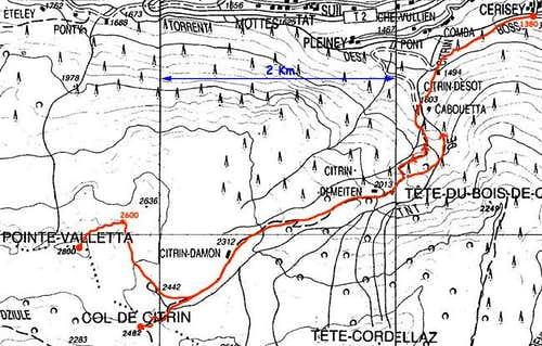 The route to Col Citrin and...
