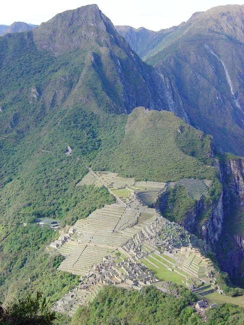 Classic view of Machu Piccu...