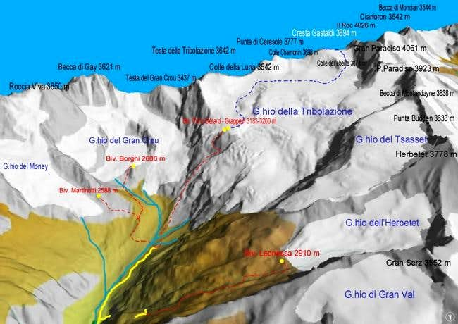 Map of the Valnontey head...