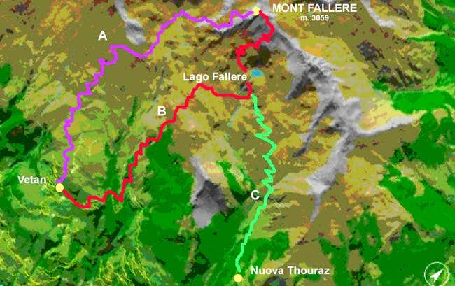 The routes to Fallere: A -...