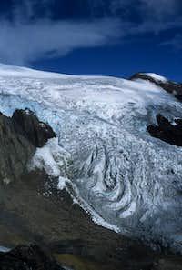 Glacier behind the refugio,...