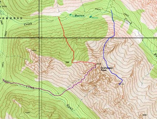 Grandjean Peak route overview...