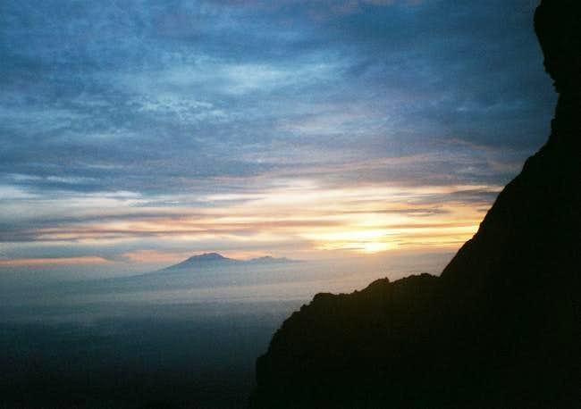 Sunrise over Merapi, january...