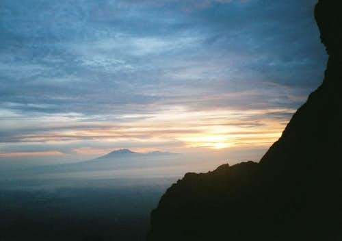 Sunrise over Merapi, january...