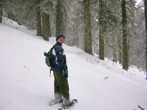 Brett snowshoeing his way to...