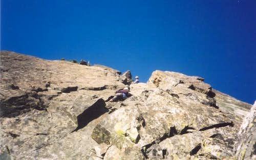 Alison climbing the South...