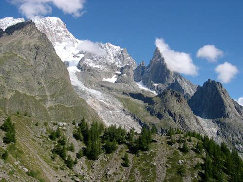 View towards the heart of Mont Blanc range<br> fom Combal plain