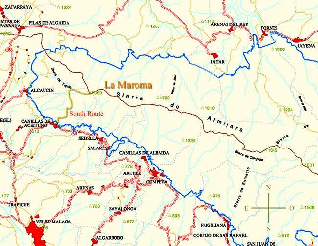 Map of La Maroma and the...