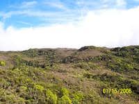 View up summit ridge....