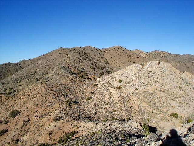 Hiking along the ridge to the...