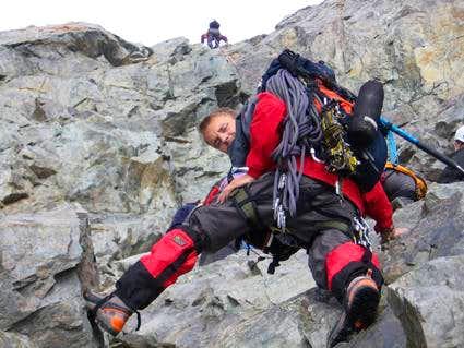 Climbing the rocky part...