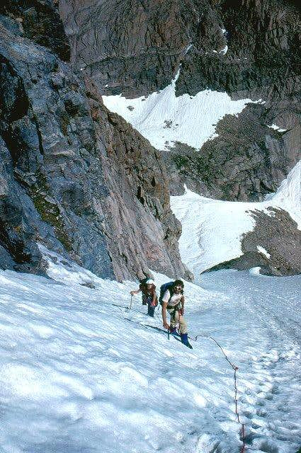 Climbing Lambs Slide on the East Face of Longs Peak