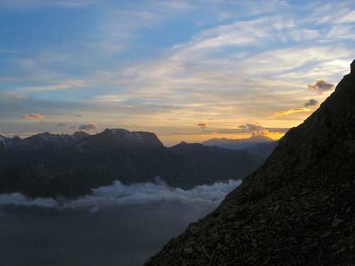 sunset from refuge Ca\' d\'Asti...