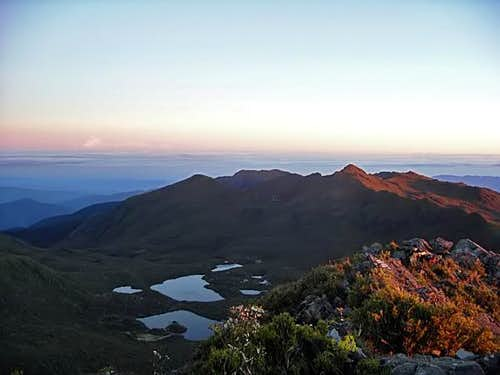 Dawn atop Cerro Chirripo summit