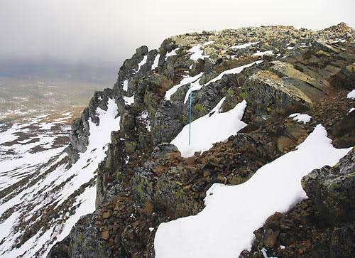 The east face near the summit.