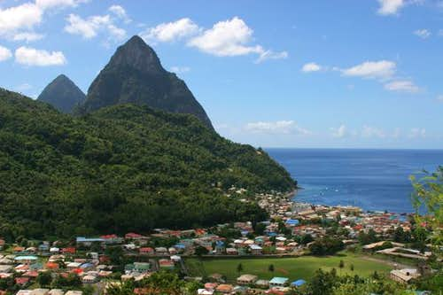 The Pitons above the town of...
