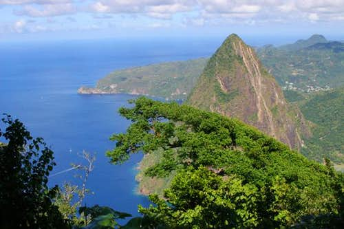 Petit Piton from the summit...