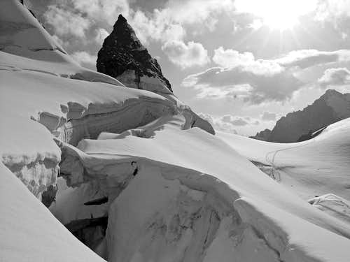 Séracs and crevasses near...