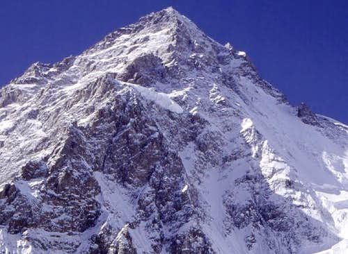 Close-up of upper part of K2,...