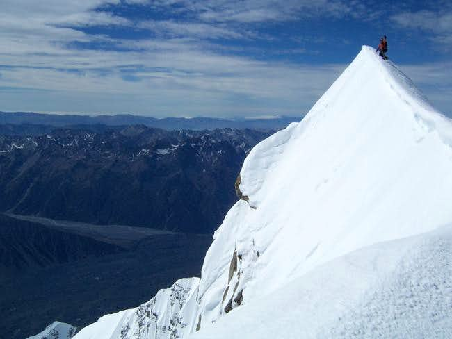 T. Haines on summit of Cook....