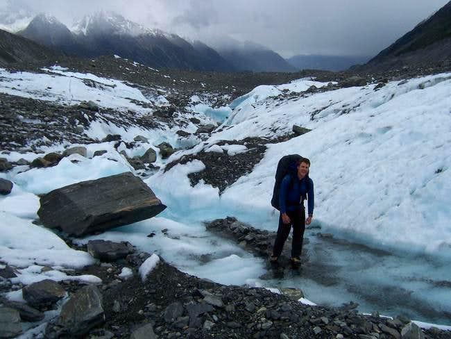 T. Haines on Tasman Glacier....