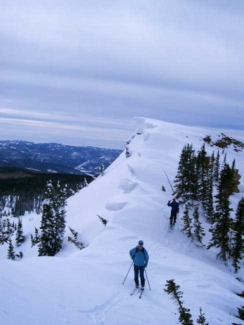 Ascending a corniced ridge...