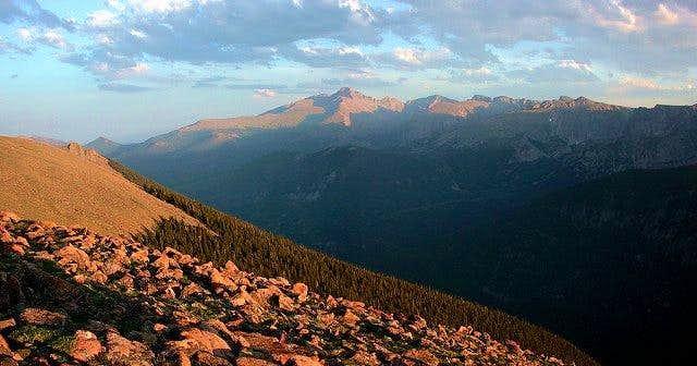 Sunset on Longs Peak and the...