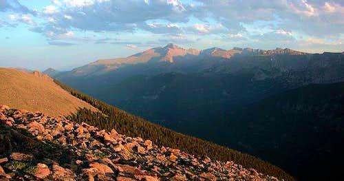Sunset on Longs Peak and the...
