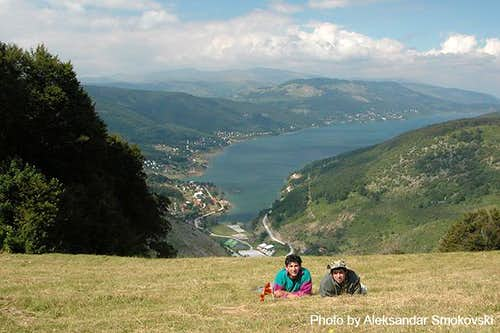 A view of Mavrovo Lake in...