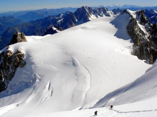 Looking back at the Aiguille...