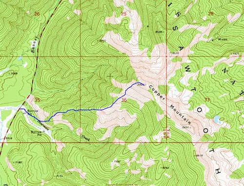 Copper Mountain Topo with Route