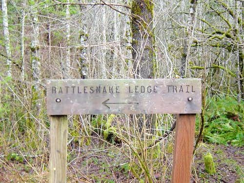 Rattlesnake Ledge Trail sign...