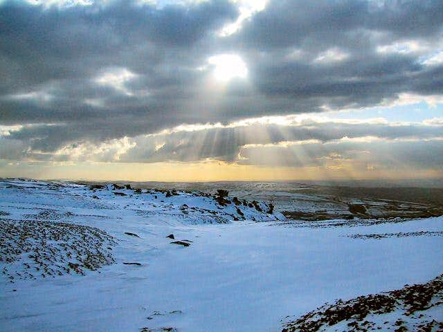 Snow on Kinder Low seen from...
