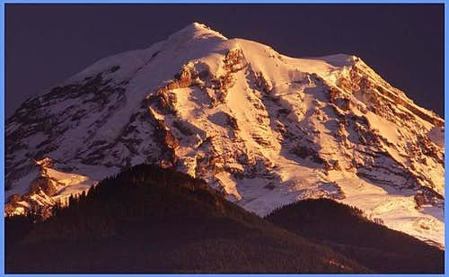 Rainier in alpenglow