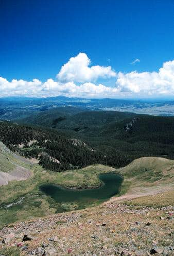 Horseshoe Lake from summit...