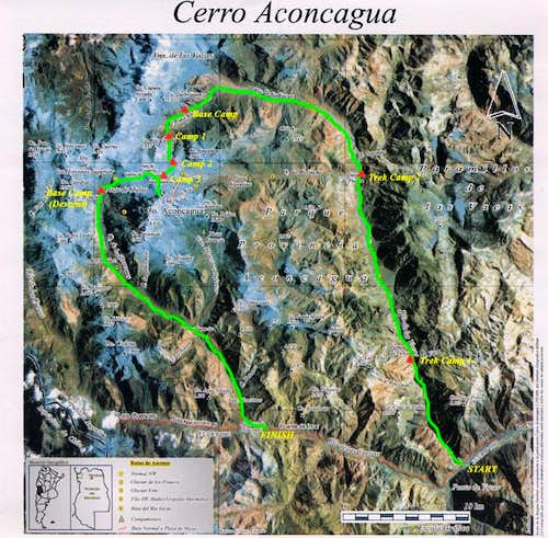 Map of Aconcagua showing our...