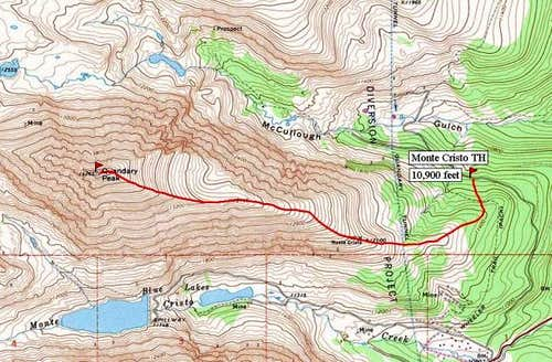 Monte Cristo Trail Head Route.