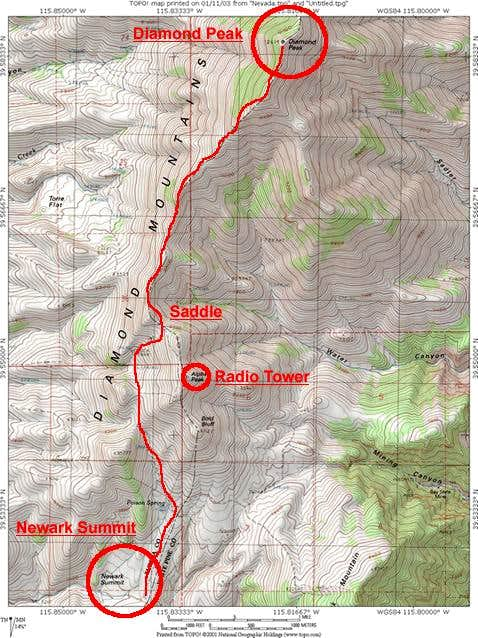 Southwest Ridge Route Map