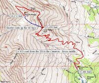 Mineral Park Mine trail route.