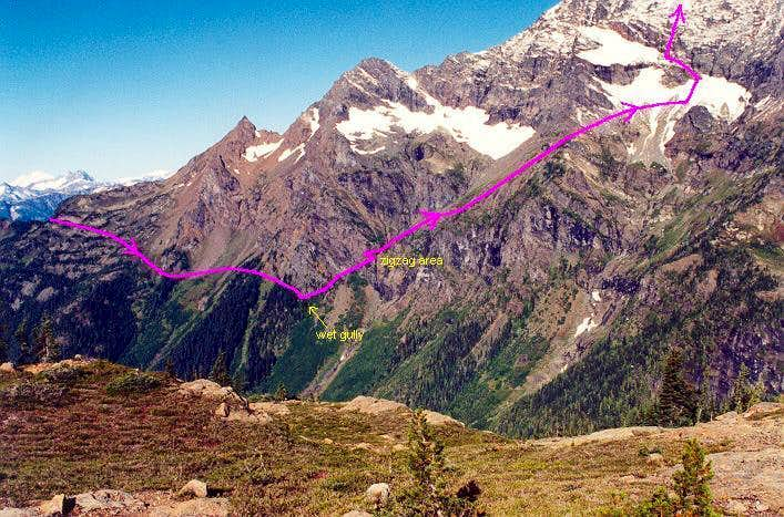 Jack Mountain approach route...