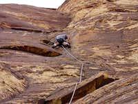 Me on a steep, 5.9 face...