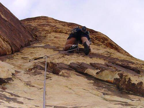 Me heading up a steep, 5.9...