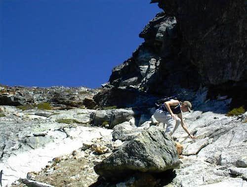 Descending the rock scramble...